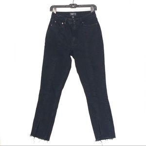 ABERCROMBIE AND FITCH BLACK FRAYED JEANS